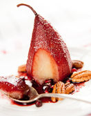 Simple Paleo Style Dessert Pear Poached in Pomegranate Juice — Stock Photo