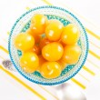 Bright Yellow Canned Rainier Cherries — Stock Photo