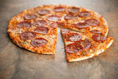 Thin Crust Pepperoni Pizza — Stock Photo