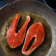 Two Wild Salmon Steaks — Stockfoto