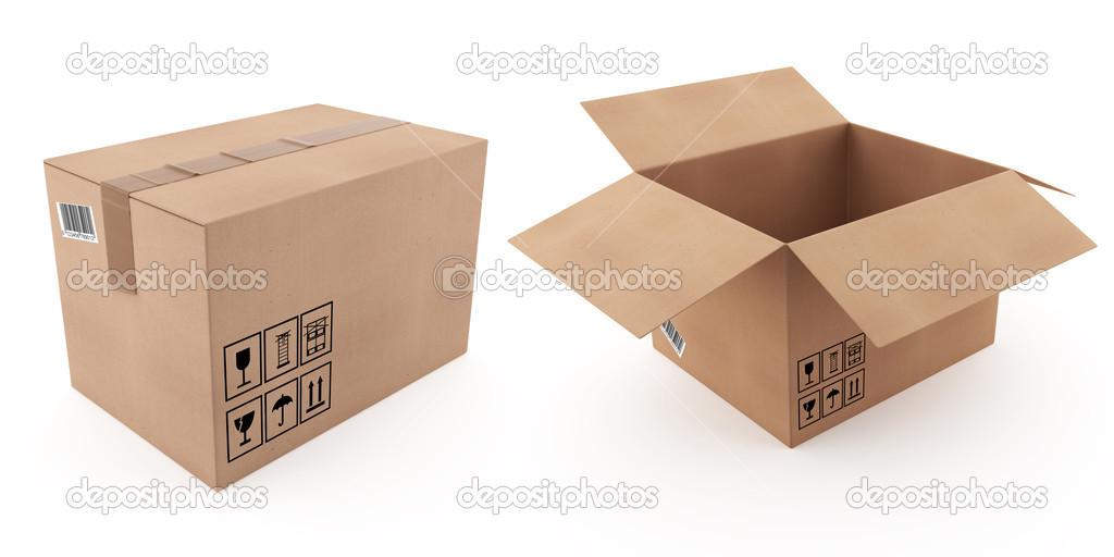 Caja de cartón abierta y cerrada — Foto de stock © rexi ...