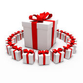 Great gift surrounded by small gifts — Stock Photo