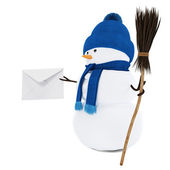 Snowman with a letter — Stock Photo