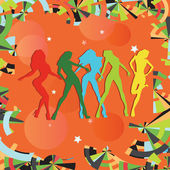 Dancing girls silhouettes on multi-colored background — Stock Vector