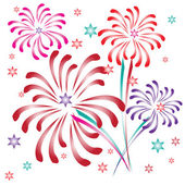 Multicolored fireworks and stars — Stock Vector