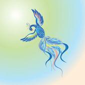 Blue fire-bird flying in multicolored sky — Stock Vector