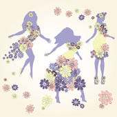 Dancing girl in dress made of flowers — Stock Vector