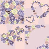 Flower hearts frame background — Stock Vector