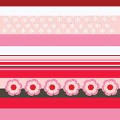 Rayures rouges et roses avec motifs floraux — Vecteur
