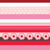 Red and pink stripes with flowery patterns — Stok Vektör