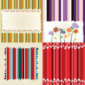 Multicolored flowery frames, ornaments and stripes — Stock Vector