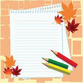 σημειωματάριο, μολύβια και ο σφένδαμνος αφήνει σε πορτοκαλί φόντο — Διανυσματικό Αρχείο