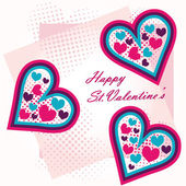 St.Valentine's greeting postcard hearts — Stock Vector