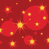 Yellow stars and red circles on dark red background — Stock Vector