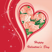 St.Valentine's Greeting Postcard with hearts and flowers — Stock Vector
