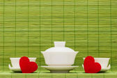 Ware for tea drinking and heart — Stock Photo