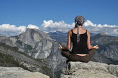 Meditating on a rock in Yosemite — Stock Photo