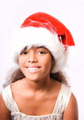 Cute happy smiling girl in santa hat on white background — 图库照片