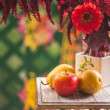 Autumn flowers and fruits — Foto Stock