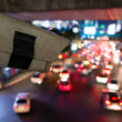 CCTV watching bad traffic at night in Thailand — Stock Photo