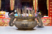 Chinese incenses in a buddhist temple — Stock Photo