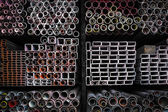 Stack of iron pipes — Stock Photo