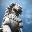 Chinese stone tiger guardian under blue sky — Stock Photo
