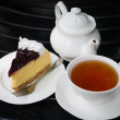 Stock Photo: Blueberry cheese cake with tea