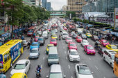 Bad traffic day at Central World, Bangkok — Stock Photo