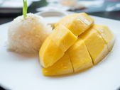 Mango sticky rice, Thai dessert — Stock Photo