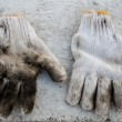 Stock Photo: Pair of old worker gloves