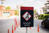 Beware the right traffic sign on a road — Stock Photo
