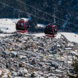 Cableway above Scuol in winter time — Stock Photo