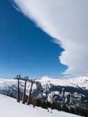 Cold front above ski resort — Stockfoto