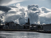 Reykjavik cityscape before storm — Stock Photo
