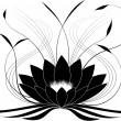 Black japanese lotus — Stock Vector