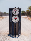 Campsite gate with marked opening and closing time — Stock Photo