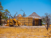 Strawy huts of african village — Stock Photo