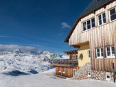 Mountain hut in winter time — Stock Photo