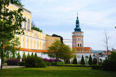 Mikulov castle park and church tower — Stock Photo