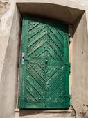 Old green wooden door — Stock Photo