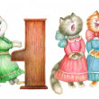 Singing lady-cats — Stock Photo