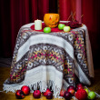 Stock Photo: Halloween pumpkin, apples, berries, candle