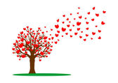 Tree and red hearts — Stockfoto