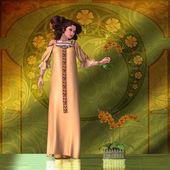 Kobieta w stylu secesyjnym - storczyki — Zdjęcie stockowe