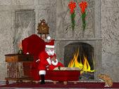 Santa and the Naughty and Nice Book — Stock Photo