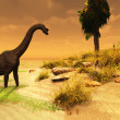 Stock Photo: Brachiosaurus Island