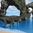 Stock Photo: Diplodocus Wading