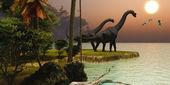 Brachiosaurus Sunset — Stock Photo
