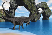Diplodocus Wading — Stock Photo
